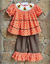 Smocked A Lot Turkey Thanksgiving Orange Brown Quatrefoil Ruffled Pants Outfit