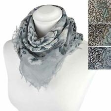 Ladies Floral Leopard Animal Scarf, Frayed Edge, Neck Head Scarf Square Scarves