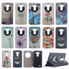 Fashion Patterns Circle Quick Window Flip PU Leather Stand Case Cover For LG G4