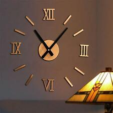 Surface DIY Large Wall Clock 3D Sticker Metal Big Watches Home Decor Gift New