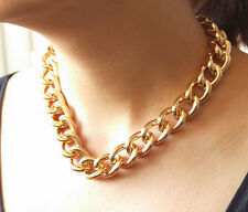 "Shiny Smooth O Light Gold Plated Chunky Aluminium Curb Chain Necklace18"" 24"" 38"""