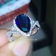 Sz5-10 Jewelry Pear Cut 10k white gold filled sapphire CZ Wedding Ring gift