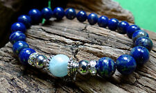 Aquamarine and lapis lazuli bracelet w/ silver hematite and crystals FREE ship
