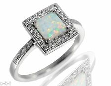 Elegant Princess Cut White Fire Opal Engagement Sterling Silver Ring Size 3 - 12