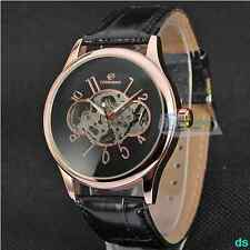 High Quality Vintage Alloy Case Leather Band Skeleton Mechanical Mens Wristwatch