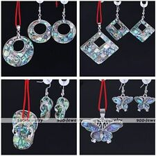 Abalone Shell Round/Square/Slippers/Butterfly Dangle Earring Pendant Jewelry Set