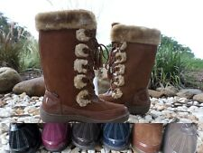 SPORTO TALL MID-CALF SUEDE WATERPROOF LACE UP FAUX FUR WINTER BOOTS   PICK COLOR