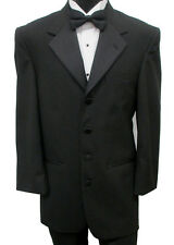 Black Perry Ellis Four Button Tuxedo Jacket Wedding Prom Costume Halloween