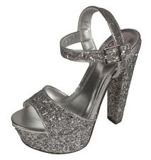 Audora Delicious Peep Toe Platform Ankle Strap Chunky Heel Sandal Silver Glitter