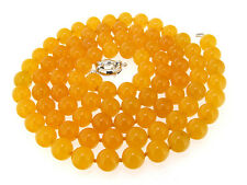 "Rare 8mm Necklace Yellow Jade Round Gemstone Bead Knotted 18"" 24"" 36"" 48"" Lariat"