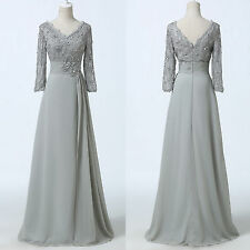 Elegant Grey Mother of the Bride Lace Gown Formal Evening WEDDING Party Dresses