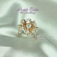 18CT Rose Gold Plated Fashion Firework Ring W/ Swarovski Crystals