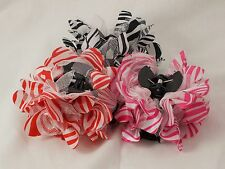 """New Animal Zebra Print Flower/Tulle with 3"""" Plastic Black Hair Claw 3 Colors"""