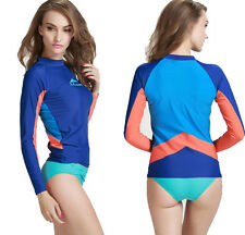 New Surfing Rash Guard Women Long Sleeve Sun Shirts Swim Top Swimwear Swimsuit