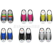 Pair/16pc NO TIE Silicone Shoelaces Shoe Laces Sneakers Running Jogging Sporting