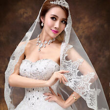 New 1 Tier White / Ivory Wedding Bridal Veil With Lace Applique Edge