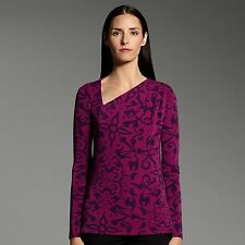 NARCISO RODRIGUEZ Womens Asymmetrical Scroll TOP Purple Shirt for DESIGNATION