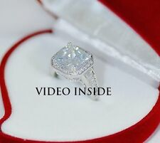 *3.8CT Princess Cut Diamond Engagement Wedding Ring F.22KT Silver Made in Italy
