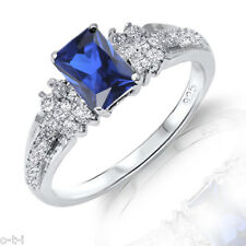 Fiery Blue Sapphire Simulated Emerald Diamond Sterling Silver Ring