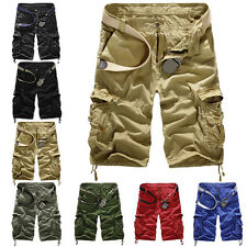 Men's Casual Army Cargo Combat Camo Camouflage Overall Shorts Sports Pants
