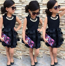 Princess Baby Kids Girls Evening Dresses Party Black Striped Tulle Formal Dress