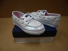 Sperry Top Sider Girls Bahama White Iridescent Boat Shoes
