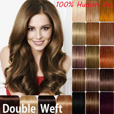 THICK Double Weft Clip In Remy Human Hair Extensions Weave Full Head 22 UK X250