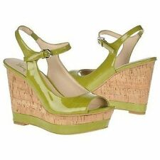 Franco Sarto Women's Safari Kiwi Yellow Patent Wedge Sandal