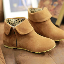 A US Womens Winter Boots Inside Increased Shoes Faux Suede Short Plus Size Boots
