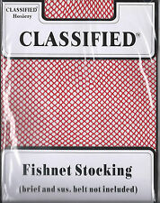 One Size Fish Net Stockings by Classified - Black, White & Red