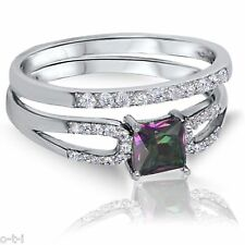 Princess Cut Fire Rainbow Topaz Engagement Wedding Sterling Silver Two Ring Set