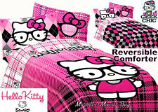 Sanrio HELLO KITTY Reversible PiNk & Black PLAID Twin/Full Comforter Set+Sheets