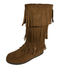 Import Soda Women Mid-Calf Fringe Moccasin Slip On Flat Boot Chestnut Faux Suede