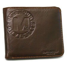 New Brown Men's Leather Wallet Full Zippered Pocket Purse 2 ID Window Vintage St