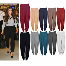 WOMEN LADIES PLAIN FULL LENGTH HAREEM ALI BABA PANTS BAGGY TROUSER HAREM LEGGING