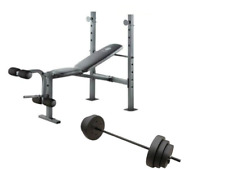 Weight Bench with Bar and 100 lb Weights Lift Set Weightlifting Exercise Press