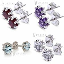 UP LINK Multi-Color Birthstones Topaz  Sterling Silver Butterfly Stud Earrings