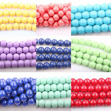 New Unisex  Czech Opaque Coated Glass Pearl Round Jewelry Finding Bead DIY 8mm