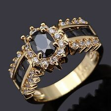 Size 6,7,8,9,10,11,12 Black Sapphire 18K Gold Filled Wedding Fashion Womans Ring