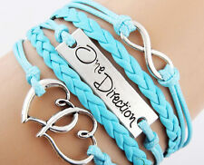 ONE DIRECTION INFINITY LOVE BRACELET HEART SILVER BRAIDED LEATHER WRISTBAND GIFT