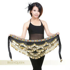 Belly Dance costume Velvet hip scarf belt wrap handmade Gold Coins