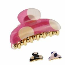 Lady Big Polka Dot Hair Claw Clip Plastic Grip Accessory Clamp - 6cm