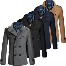 HOT Men Slim Fit Wool Coat Winter Trench Double Breasted Coat Jacket Outwear Top