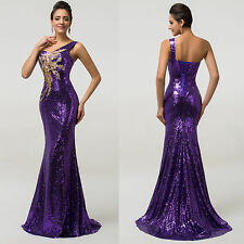 Sexy Sequins Prom Dress Fishtail Evening Wedding Floor Length Bridesmaid Dress