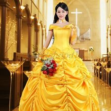 Adult Princess Belle Costume Beauty and The Beast Halloween Fancy Dress Hot 004