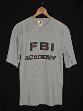 RARE Vintage 80s FBI Academy Heather Gray V-neck Thin Soft 50/50 T-shirt S USA