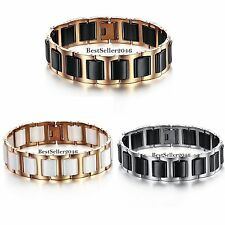 Stainless Steel WHITE / BLACK / Gold Tone Ceramic Link Men's Bracelet Wristband