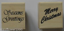 Personal Impressions RUBBER STAMP wood mounted SEASONS GREETINGS MERRY CHRISTMAS