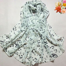 Women Spring Winter Scarf Musical Note Chiffon Scarf Neck Wraps Shawl Scarves
