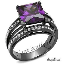 6.85 CT PRINCESS CUT AMETHYST CZ BLACK STAINLESS STEEL FASHION RING SIZE 5-10